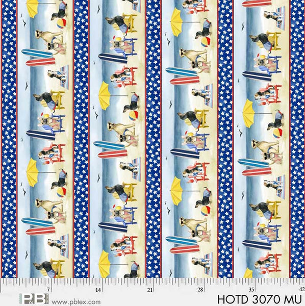SPECIALTY FABRICS: Dogs on the Beach Stripe:  Hot Dog by World Art Group for P&B Textiles.  Hot Dog Panel Coordinate