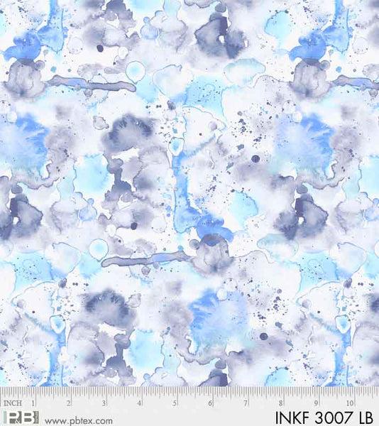 PB- Ink Flowers Lt Blue Dreamy Watercolor
