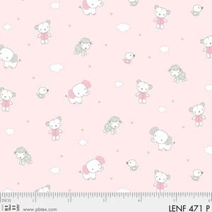 LES ENFANTES FLANNEL PINK WITH SMALL ANIMALS 00471-P