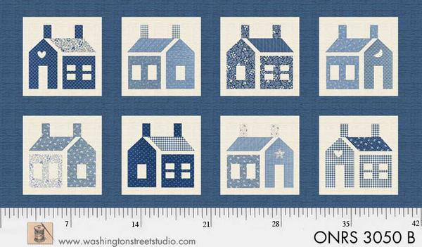 ONRS 3050 B One-Room Schoolhouse Large Blue Houses