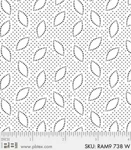 PB- Ramblings 9 738W White Petals & Dots White-on-White
