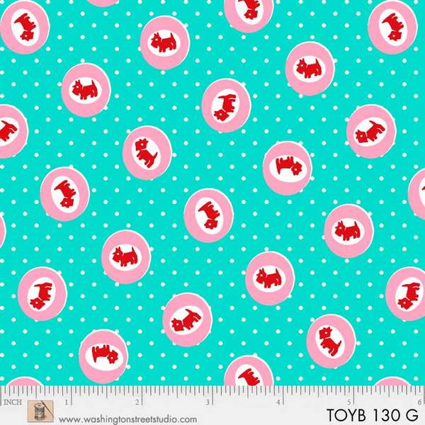 Thirties:  Small Red Dogs in Pink Circles on Mint Green:  Toy Box Miniatures by Sara Morgan for Washington Street Studio