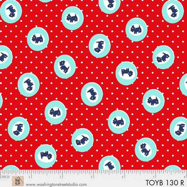 Thirties:  Small Blue Dogs in Light Blue Circles on Red:  Toy Box Miniatures by Sara Morgan for Washington Street Studio