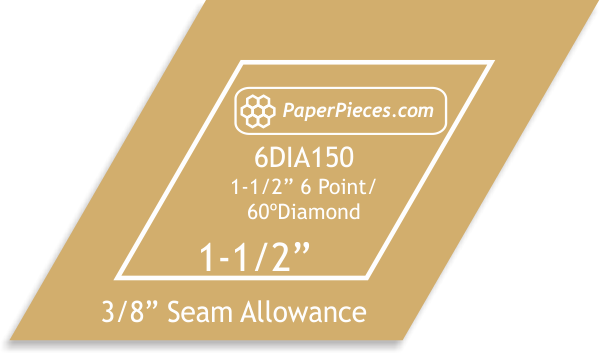 Acrylic Fabric Cutting Template: 1-1/2 6 Point Diamonds with 3/8 Seam Allowance