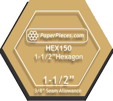 Acrylic Fabric Cutting Template: 1-1/2 Hexagon with 3/8 seam allowance