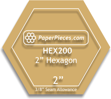 Acrylic Fabric Cutting Template: 2 Hexagon with 3/8 Seam Allowance