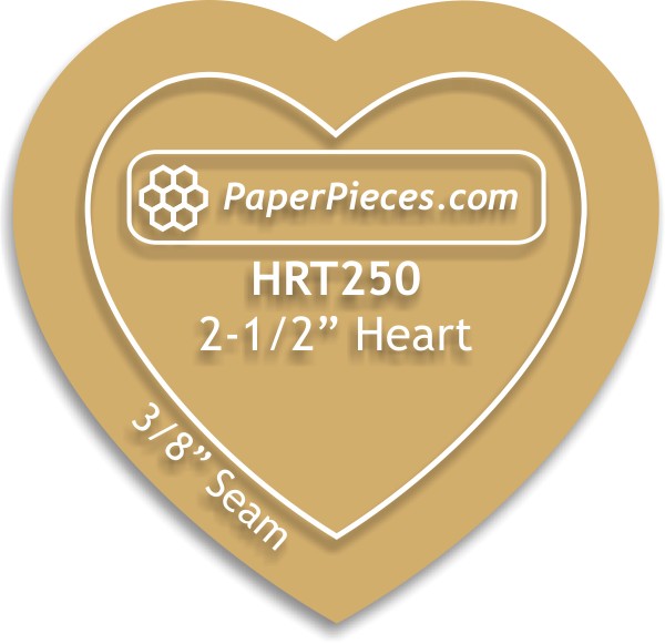 Acrylic Fabric Cutting Template: 2-1/2 Heart with 3/8 Seam Allowance