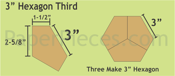 N- Paper Pieces Hexagon Third 3 (30 pieces)