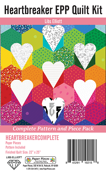 Heartbreaker EPP Mini Quilt Kit: Complete Pattern and Paper Piece Pack by Libs E...