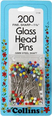 Glass Head Pins Fine Sharp 1 3/8
