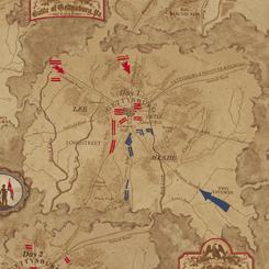Gettysburg -Gettysburg Map<br>Dark Tan - 22758-A