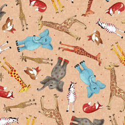 WILD THINGS TOSSED ANIMALS- Tan background (FA-23619-E)