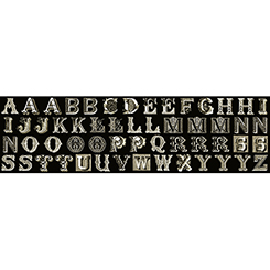 LETTER STITCH SMALL ANTIQUE TYPOGRAPHY BLACK