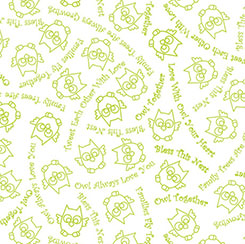 OWL IN THE FAMILY OWL SKETCH & WORDS WHITE/GREEN