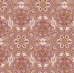 Gold and Burgundy Lace on Cream - Lace Medallions on Light Background:  Luminous Lace by Ivy Lane for Quilting Treasures