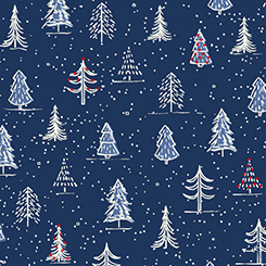 Naughty or Nice Christmas Trees Navy