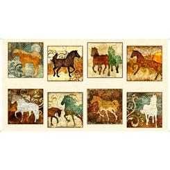 QT Fabrics UNBRIDLED HORSE PICTURE PACTHES  24689-E Cream