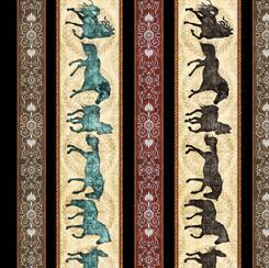 QT Fabrics UNBRIDLED HORSES DECORATIVE STRIPE