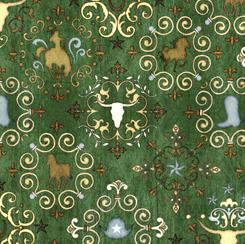 QT Fabrics UNBRIDLED WESTERN MEDALLIONS GREEN 24694-G