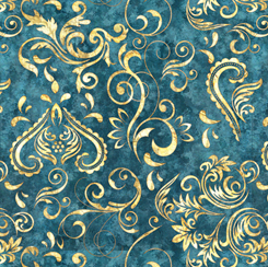 QT Fabrics UNBRIDLED INLAY SCROLL TEAL 24695-Q