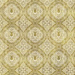 QT Fabrics UNBRIDLED HORSESHOE MEDALLIONS STRAW 24689-E