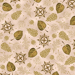 24718-AE INTO THE WOODS LEAVES & PINECONES TAUPE