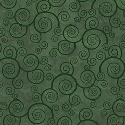 Quilting Treasures Harmony Flannel 24778-FFLN CURLY SCROLL EVERGREEN