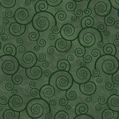 Harmony Cotton Curly Scroll Evergreen Fabric Yardage 24778-F