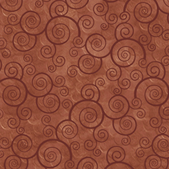 Quilting Treasures Harmony - Cotton CURLY SCROLL TERRACOTTA