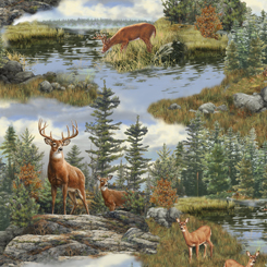 Quilting Treasures - Deer Mountain Landscape