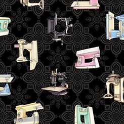 Cute As a Button Black Sewing Machines