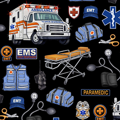 What The Dr Ordered Medical Rescue Toss on Black Fabric by the Yard