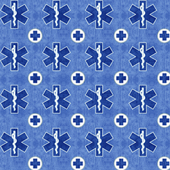 What The Dr Ordered by QT fabrics - EMS Symbol - Denim