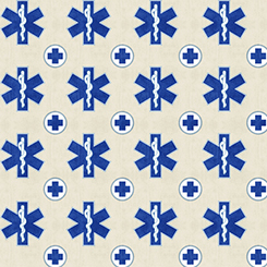 What The Dr Ordered EMS Symbols on Oatmeal Fabric by the yard