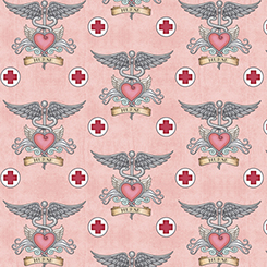 What The Dr Ordered Nurse Tattoo Pink Fabric by the yard