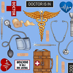 What The Dr Ordered Doctor Toss on Blue Fabric by the yard