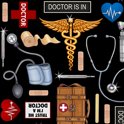 What The Dr Ordered Doctor Toss on Black Fabric by the yard