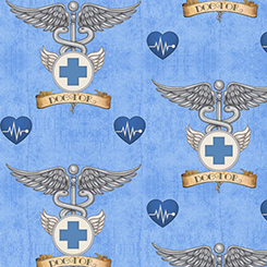 What The Dr Ordered Doctor Symbol on Blue Fabric by the yard