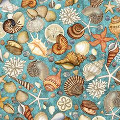 Ocean Oasis Seashells Aqua