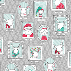 MINGLE & JINGLE SANTA'S CREW PICTURE PATCHES GRAY