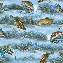 SO MANY FISH, SO LITTLE TIME 1649-25924-B FISH ON BLUE BACKGROUND