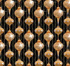 A GOLDEN HOLIDAY ORNAMENTS BLACK