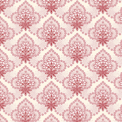 COLEBROOK FLORAL MEDALLIONS CREAM/RED