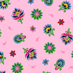 Imperial Paisley Tossed Flower Pink