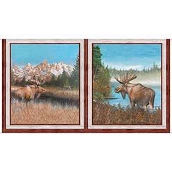 By Waters Edge - Moose Pictures ( 24REPEAT) by QT Fabrics