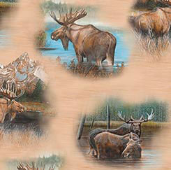 BY WATER'S EDGE TAN WITH MOOSE SCENES 26042-A