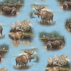 By Waters Edge - Moose Vignettes on Blue by QT Fabrics 26042-B