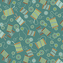SEWING MENDS THE SOUL THREAD & BUTTONS TEAL