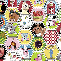 *PATCHWORK FARMS ANIMAL OCTAGON PATCHES WHITE
