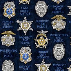 PROTECT & SERVE SHIELDS NAVY
